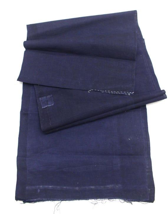 Japanese Indigo Cotton. Artisan Aizome Boro Textile. Blue Vintage Folk Fabric (Ref: 1757C)