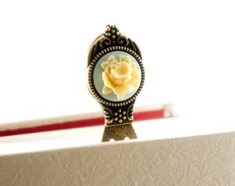 Vintage Cameo English Rose Bookmark - Antiqued Bronze Color - Vintage Style Gift - RF02