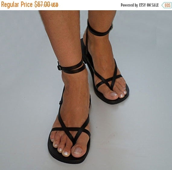 10% off Delicate And Stylish Double Ankle Strap Leather Sandals With Buckle - Sunshine