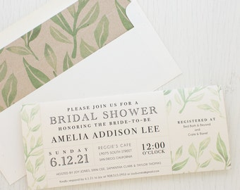 "Green Leaves Bridal Shower Invitations, Boho Shower Card with Matching Envelope Liner, Unique Bridal Shower, 3.00/each - ""Watercolor Leaves"""