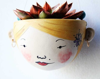 Hanging plant pot-indoor planter for succulents or cactus-hipster decor-Blossom-face plant pot