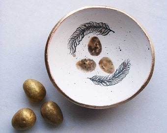 Wild bird nest bowl-trinket bowl-ceramic ring bowl