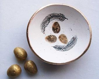 Wild bird nest bowl-trinket bowl-ceramic ring bowl