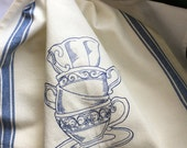 Stack o' Fancy Tea Cups design embroidered towel