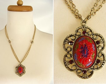Ethnic Neklace. vintage 70s TARA Gold Tone Antiqued Pendant Necklace Moroccan Painted Resin Cabochon and Ruby Red Rhinestones. gift for her