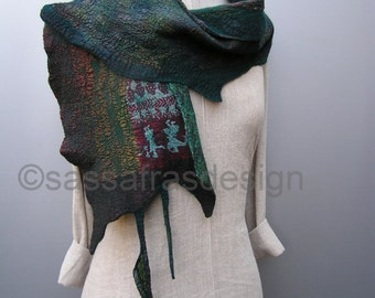 Beautiful hand felted scarf, artistic nunofelted wrap, bohemian style accessory, contemporary wet felted scarf, wearable art accessory