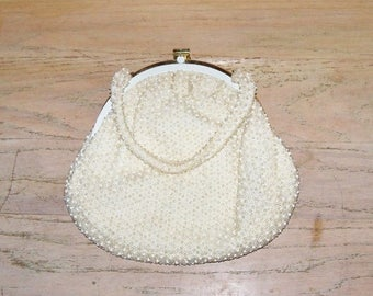 SAVE NOW Vintage Beaded Handbag Purse by Corde Bead Off White Wedding Bridal Party Prom Christmas Gift for Her