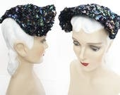 Reserved - 1st Payment Vintage 1940s Hat//Iridescent Sequins//40s Hat//Seed Beads//Designer//Old Hollywood