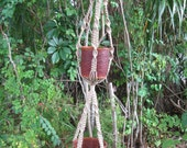 52 1/2 Inch Jute No Beads Double Made To Order Desirae Macrame Plant Hanger