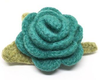 Felted Wool Rose Flower Brooch pin in blue green with light green leaves