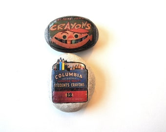 Desk ornaments - vintage crayon prints collage on stone - paperweights - study decor writers gifts