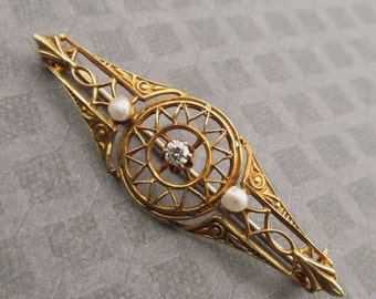 On Sale Art Nouveau 14 Karat Gold Brooch With Diamond And Seed Pearls Antique Pin Jewelry