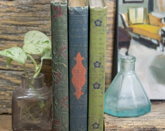 Three Hard Cover Antique Books, Shabby Decor, Olive Green, Slate Teal Blue, Henry Altemus Publisher