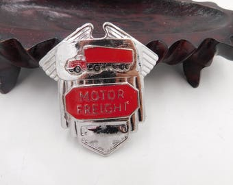 "1950's 60's Vintage Chrome Truck Driver Hat Badge That Reads "" Motor Freight ""  Dr38"