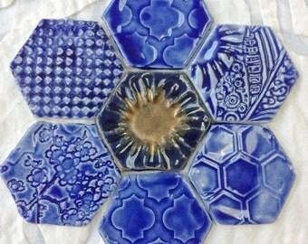 Magnet Set, Fridge Art, Cobalt Blue magnets, Refridgerator Magnets, hostess gift, Hexagon magnets, fridge magnets, ceramic pottery magnets,