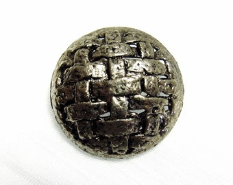 """Antiqued Weave: 1-3/8"""" (35mm) Large Antiqued Silver Metal Button - Vintage New Old Stock Button"""