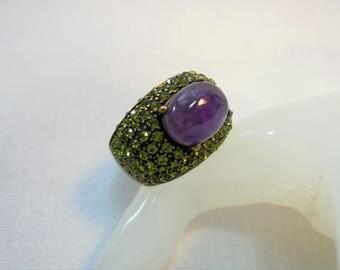 Vintage Heidi Daus Ring GREENERY GREEN Swarovski Captivating Purple Cabochon Dome Size 12 Designer Women's Ring Mod Statement