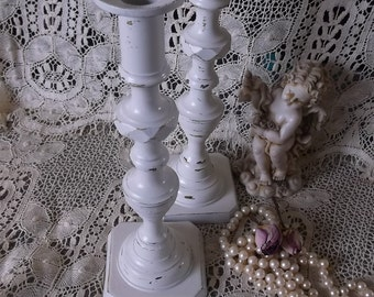 Shabby romantic metal candle stick holders, heirloom white, rustic chic wedding decor
