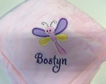 Personalized 30x40 Micro Fleece Baby Girl Blanket Dragonfly