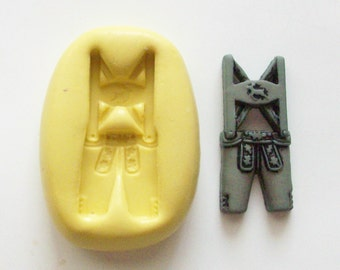 German man dress Mold #639 - silicone  mold, craft mold, porcelain mold, jewelry mold, button mold, resin mold, clays mold, flexible mold