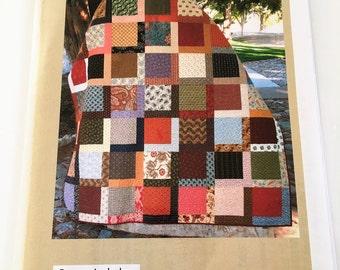 "Scrap Soup Quilt Pattern by Karen Bennett 4 Quilt Sizes , 2 Colorwarys  10"" square friendly, Layer cake friendly  #NN356"