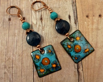 Enamel Blue Apatite & Turquoise Earrings, Artisan Enamel Earrings, Gemstone and Enamel Earrings, Artisan Earrings, OOAK, Blue Earrings