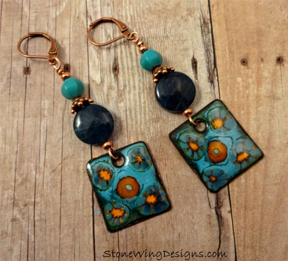 Enamel Blue Apatite & Turquoise Earrings, Artisan Enamel Earrings, Gemstone and Enamel Earrings, Artisan Earrings, OOAK, Blue Earrings
