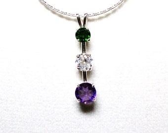 "Gemstone pendant, 3 stone pendant, past present future, green white purple, anniversary pendant, gifts for her, ""Electric Avenue 2"""