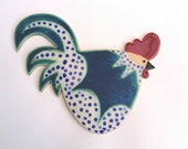 Pottery Chicken Cockerel Wall Plaque stoneware ceramic  turquoise and indigo spots