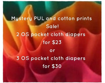 Mystery PUL or cotton print Sale. OS pocket cloth diapers.