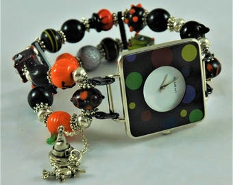 Halloween, Creepy, Cats, Bats, Beaded Interchangeable Watchband, Stretchy Bracelets, Vintage Style Watches, Handmade, Women, Gifts For Her,