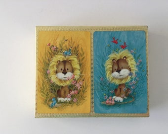 Cute Lion Playing Cards,  Double Deck, Blue and Yellow, Crown Playing Cards in Box