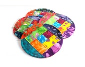 Quilted Coaster Set, Colorful Fabric Coasters, Bright Batiks