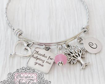 Teacher Jewelry, Bangle Bracelet- Gifts for Teachers- Teacher Appreciation Gift-Thank you for helping me grow, Tree charm, Charm Bracelet