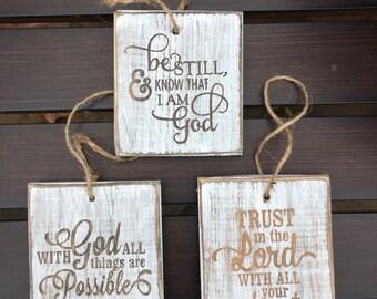 Rustic Bible Verse Ornaments