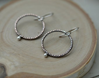 Simple copper earrings, copper hoops, copper and silver earrings, copper jewelry