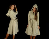 60% Off vtg 70s beige HOODED princess fit TRENCH COAT belted jacket Small boho mod retro spy fitted coat outerwear dolly puff sleeve