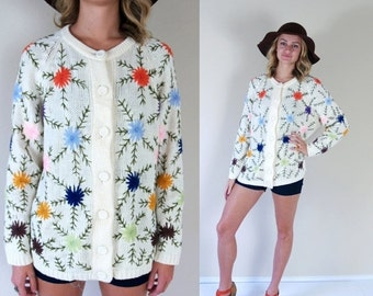 60% Off vintage 60s COLORFUL EMBROIDERED floral CARDIGAN Large folk knit sweater rainbow bold retro boho hippie