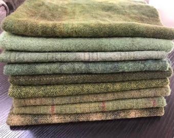 Hand Dyed Wool Fabric, 9 Old Green Fat Eighths for Primitive Rug Hooking