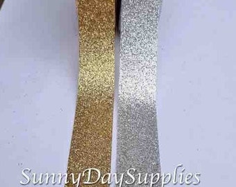 Gold and Silver Glitter Ribbon, Shimmer and Sparkle Ribbon, 2 YARDS, 7/8 in wide, Wedding, Anniversary,  Craft Ribbon in Gold and Silver