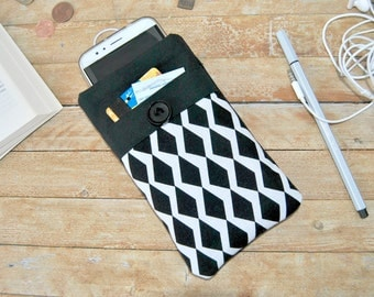 Fabric cover phone, Fabric phone case wallet, Phone sleeve with elastic and pocket, personalized phone case geometric fabric black and withe