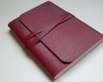 Leather Sketchbook Leather Journal Travel Journal Leather Book. Red Fine Grained Leather.