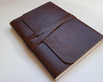 Leather Sketchbook Travel Journal Leather Journal Leather Book. Shiny Two Tone Rich Chestnut Brown with a Lovely Grain.