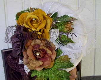 Fascinator (F617), Fall Colors, Derby Races Hat, Stylish Hat, Fall Fashion, Victoriana and Steampunk, Kentucky Derby
