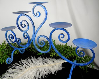 Candelabra Beach Wedding Decor Blue - Metal Pillar Candle Holder - 5 arm Two Tone Blue - Nautical Home - Coastal Home Accent - One of a Kind