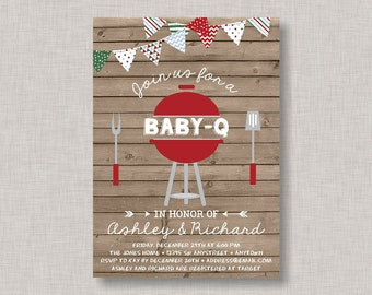 BBQ Baby Shower Invitation, Baby Q Invitation, Christmas Baby Shower Invitation, Holiday Baby Shower Invitation, Christmas BBQ, Holiday BBQ