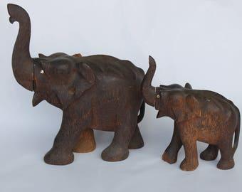 2 Vintage African Wood Carved Elephants