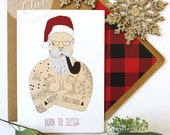 Hipster Holiday Christmas Card Tattoo Santa - I Sleigh - Born To Sleigh - Hipster Plaid Envelope Liner - Kraft Envelope Ironic Funny Modern