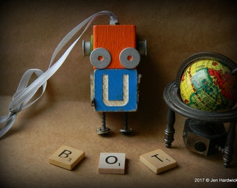 Robot Ornament - U Bot - Upcycled Ornament - Hanging Decor by Jen Hardwick