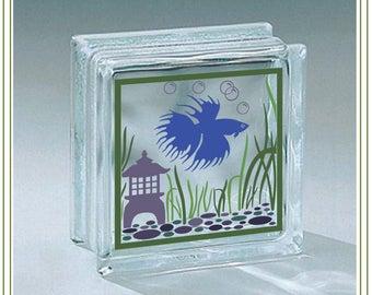 Beta Fish svg, fish bowl svg, glass block design Vinyl cutting file, SVG, Glass blocks, print, iron on transfer, SVG file, Beta Fish